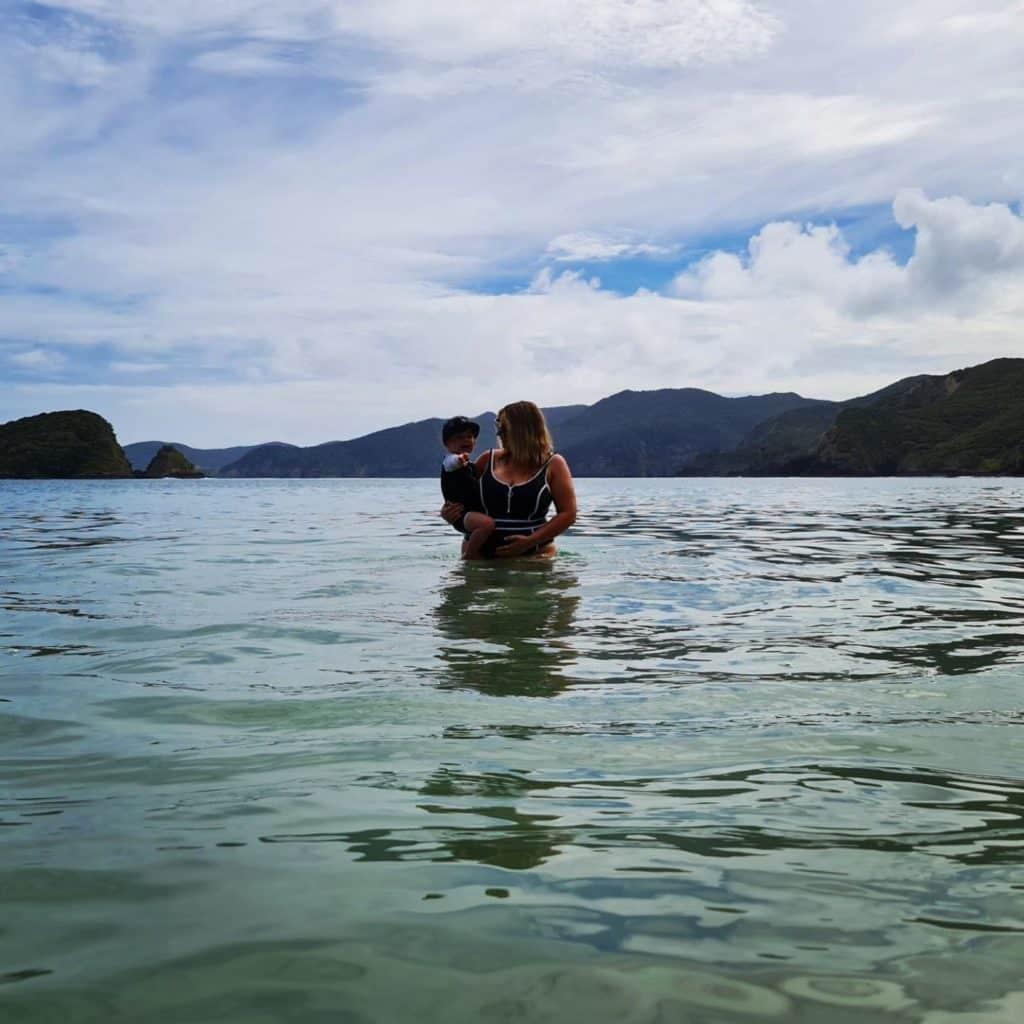 Maternity photo in ocean