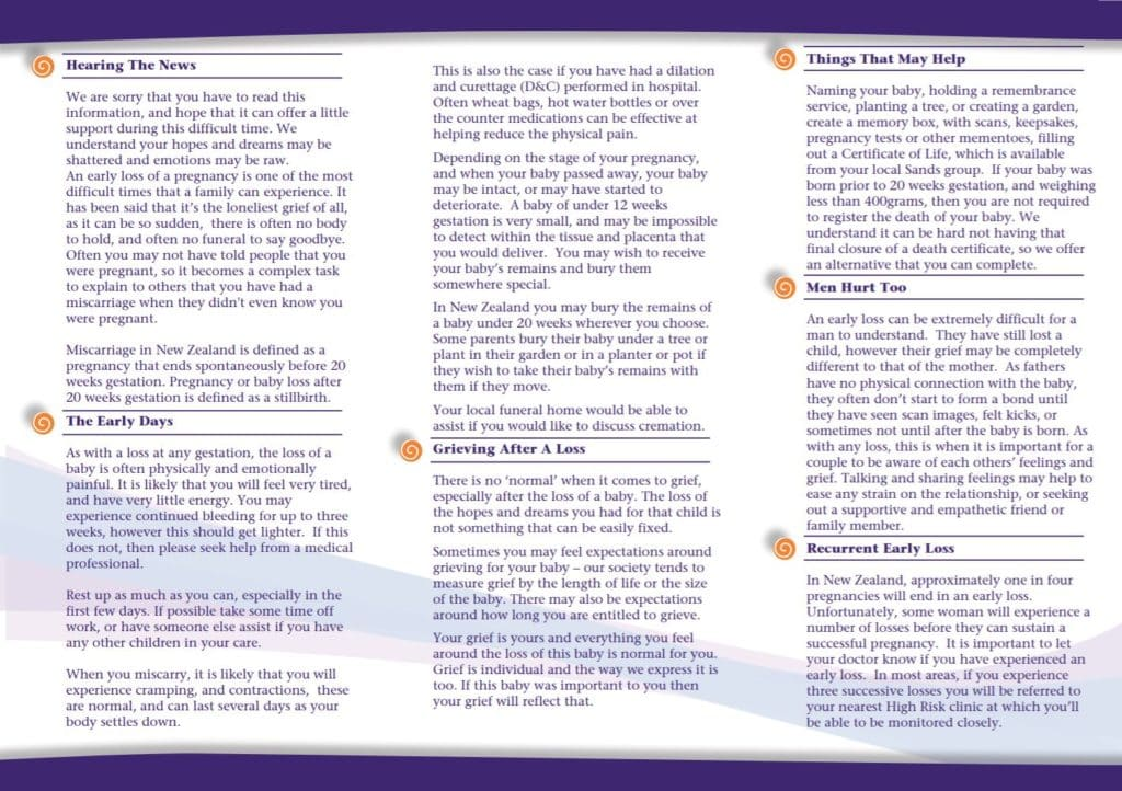 Miscarriage pamphlet